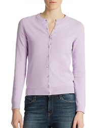 Lord And Taylor Button Front Cardigan Lavender