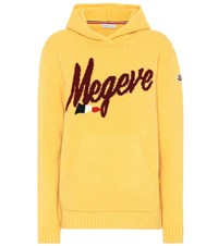 Moncler Wool And Cashmere Blend Hoodie Yellow