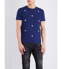 Versus Stud Embellished Cotton Jersey T Shirt Blue