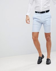 French Connection Wedding Linen Slim Fit Shorts Blue