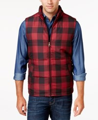 Weatherproof Vintage Men's Big And Tall Plaid Puffer Vest Red Buffalo
