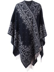 Alexander Mcqueen Tapestry Embroidered Cape Blue