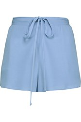 Michelle Mason Silk Crepe De Chine Shorts Light Blue