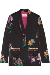 Etro Embroidered Floral Print Satin Crepe Blazer Black