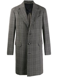 Z Zegna Checked Wool Coat Blue