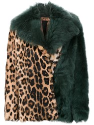 N 21 No21 Cheetah Print Coat Green