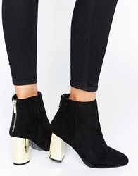 Oasis Gold Block Heeled Ankle Boots Black