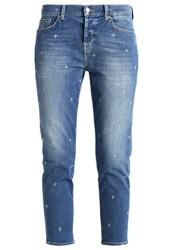 7 For All Mankind Josefina Relaxed Fit Jeans Lasered Ny Light Blue Denim