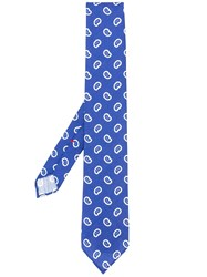 Dell'oglio Paisley Print Pointed Tie Blue