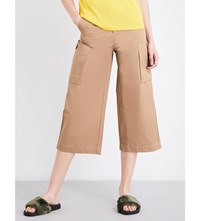 Moandco. Wide Legged Cropped Pants Pale Olive Green