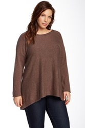 Philosophy Cashmere Boatneck Tunic Plus Size Brown