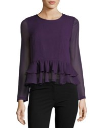 Allison New York Ruffle Sheer Sleeve Peplum Top Black