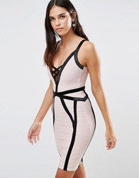 Forever Unique Muse Bandage Dress With Black Detailing Nude And Black Cream