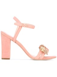 Loeffler Randall 'Layla' Heeled Sandals Women Leather Suede 10 Pink Purple
