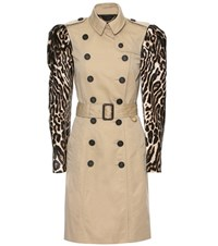Burberry Cotton Trench With Printed Calf Hair Sleeves Beige