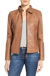 Bernardo Women's Zip Front Leather Biker Jacket Tobacco