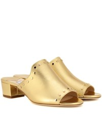 Jimmy Choo Myla Open Toe Leather Mules Gold