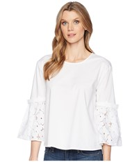 Ellen Tracy Poplin Shirt With Flouncy Sleeves E White Clothing