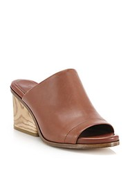 Vince Tilda Wooden Heel Leather Mules Whiskey