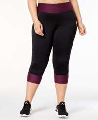 Ideology Plus Size Colorblocked Cropped Leggings Created For Macy's Pretty Plum