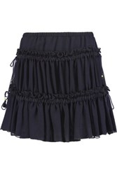 See By Chloe Gathered Chiffon Mini Skirt Midnight Blue