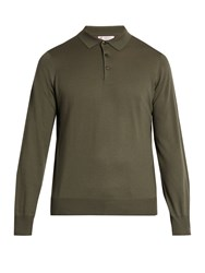 Brunello Cucinelli Long Sleeved Wool And Cashmere Blend Polo Shirt Green