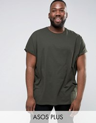 Asos Plus T Shirt With Roll Sleeve In Green Army Green