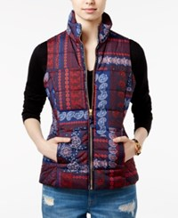 Tommy Hilfiger Paisley Print Patchwork Puffer Vest Peacoat Print