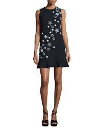 Andrew Gn Star Embroidered Flounce Hem Dress Navy