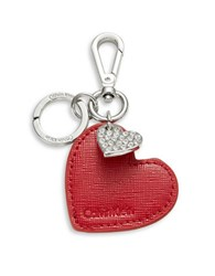 Calvin Klein Leather Heart Keychain Red