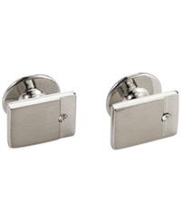 Geoffrey Beene Crystal Detail Rectangle Dress Cufflinks Set Silver