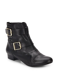 House Of Harlow Buckle Strap Leather Ankle Boots Black