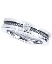 Charriol Diamond Accent Twisted Cable Ring In Stainless Steel Silver