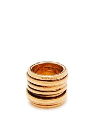 Balenciaga Logo Engraved Stacked Ring Gold