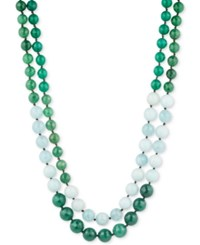 Lonna And Lilly Gold Tone Green White Beaded Layer Necklace