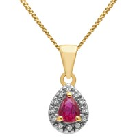A B Davis 9Ct Gold Precious Stone And Diamond Teardrop Pendant Necklace Yellow Gold Ruby