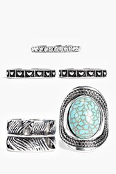 Boohoo Orla Mixed Size Stone Set Ring Pack Silver