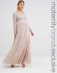 Maya Maternity Long Sleeve Embellished Bodice Maxi Dress With Tulle Skirt Mink Brown