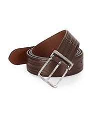 Brunello Cucinelli Stitched Leather Belt Dark Brown