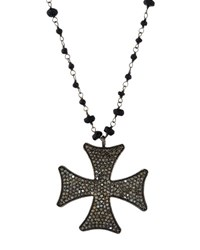 Bavna Long Black Spinel And Diamond Maltese Pendant Necklace