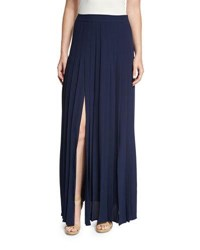 Michael Kors Pleated Front Slit Maxi Skirt Maritime