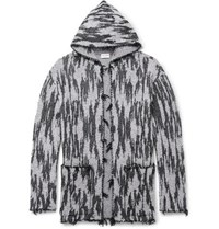 Saint Laurent Ikat Woven Hooded Cardigan Gray