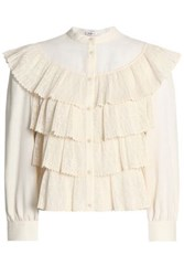 Vilshenko Lace Tiered Cotton Gauze Top Ivory