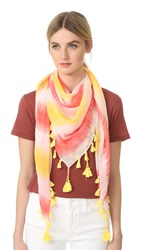 Rebecca Minkoff Tie Dye Square Scarf Hibiscus Red