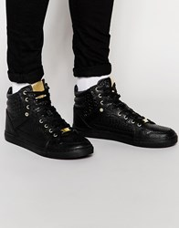 Asos Hi Top Trainers In Black With Snakeskin Effect Black