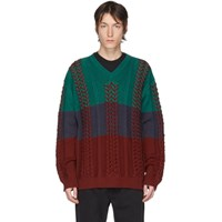 Y Project Multicolor Braided Knit V Neck Sweater