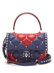 Valentino Candystud Quilted Leather Cross Body Bag Red Navy