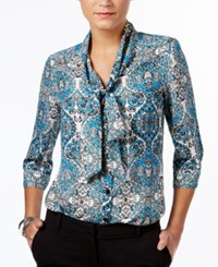 Ny Collection Petite Tie Neck Bow Blouse Blue Persianway