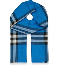 Burberry Giant Check Silk And Wool Blend Scarf Corn Flower Blue