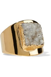 Dara Ettinger Gold Tone Stone Ring One Size